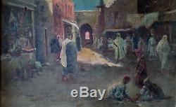 Tableau ancien orientaliste de Jacques L'Huillier marché à Tlemcen Algérie