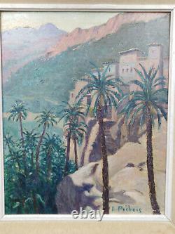Tableau ancien orientaliste orientalisme Maroc Kasbah Atlas montagnes