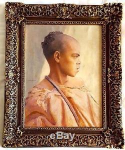 Tableau ancien orientaliste portrait de jeune homme de L. A Girardot 1856-1933