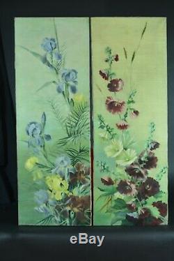 Tableau ancien paire grandes toiles jetés de fleurs Hst antique Still life x 2