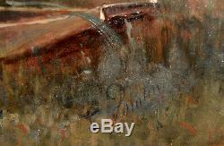 Tableau ancien par Edmond Pointin 1836-1903. Barque au bord d'un étang