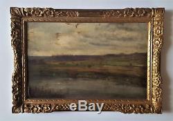 Tableau ancien par J. C MERCIER paysage école de Crozant Beauval