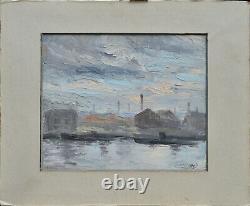 Tableau ancien par Marcel Delaunay 1876-1959. École de Rouen. La Seine à Rouen