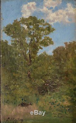 Tableau ancien par Paul-Émile Berton 1846-1909. La biche