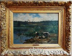 Tableau ancien paysage Barbizon par Edmond YON