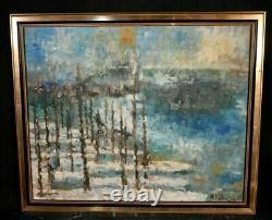 Tableau ancien paysage abstrait marine signé école Italienne XXème