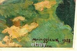 Tableau ancien paysage animé Ambérieux Rhône signé Lucien MAINSSIEUX (1885-1958)
