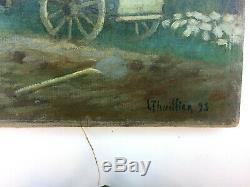 Tableau ancien, paysage campagne et paysans aux champs signé L. THUILLIER