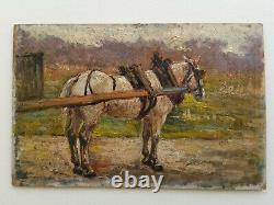 +++ Tableau ancien paysage cheval impressionniste fin 19eme ou vers 1900 +++