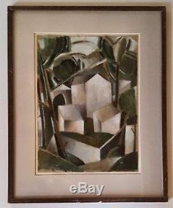 Tableau ancien paysage cubiste vue de Céret