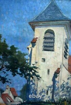 Tableau ancien paysage église en bord de mer Bertrand Edouard DE CHAMPEAUX XXème