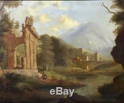 Tableau ancien, paysage italien, ruine sur fond de montagne