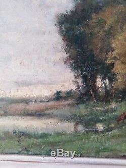 Tableau ancien paysage pâturage André Des fontaines vaches pastorale 33x41cm