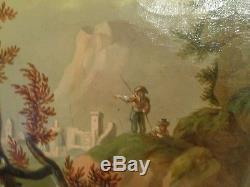 Tableau ancien paysage portrait femme 18eme siecle vers 1780 huile sur toile