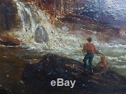 Tableau ancien paysage romantique montagne cascade 19 siecle