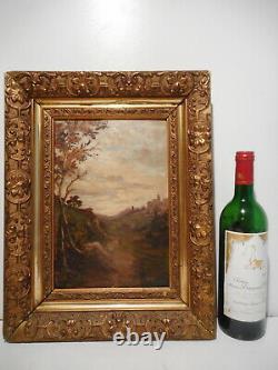 Tableau ancien peinture 19 siècle signé Baudin paysage campagne village