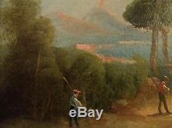 Tableau ancien peinture Italie Vue de Naples