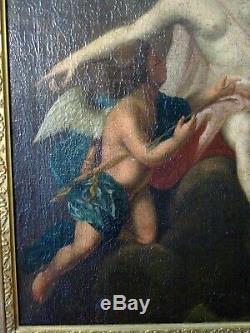 Tableau ancien peinture XVIII 18 eme Diane et Cupidon ecole Italienne