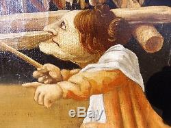 Tableau ancien peinture a l'huile sur toile grand format