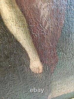Tableau ancien peinture huile Ecole Italienne 18 ème Diane et Cupidon painting