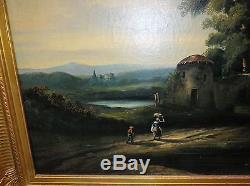 Tableau ancien peinture huile paysage animè fin18e debut19e signe