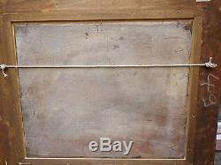 Tableau ancien peinture huile sur bois paysage bateau pecheur signè