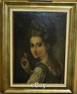 Tableau ancien peinture, huile sur toile XVIIIème jeune femme