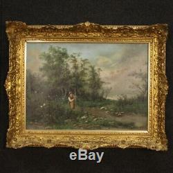Tableau ancien peinture huile sur toile paysage signé avec cadre doré 800