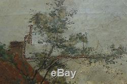 Tableau ancien peinture huile sur toile vie à la campagne Signé Hermanns