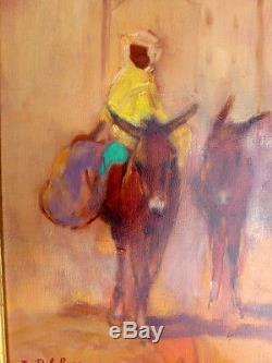 Tableau ancien peinture huile toile orientaliste âne jeune garçon signé