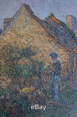 Tableau ancien peinture à l'huile par Caesar-kunwald 1870-1946. Camaret Bretagne