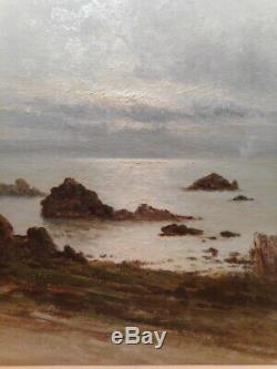 Tableau ancien peinture marine Maurice Lucien PROUST Bretagne rocher mer océan