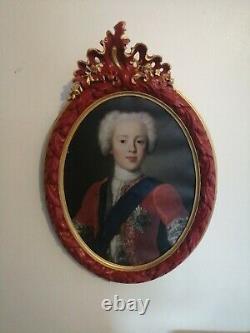 Tableau ancien peinture ovale huile sur toile cadre portrait 700 18ème siècle