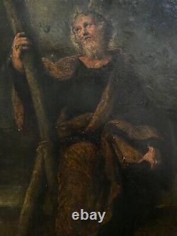 Tableau ancien peinture sur cuivre XIXe Portrait d'un Apôtre Saint à identifier