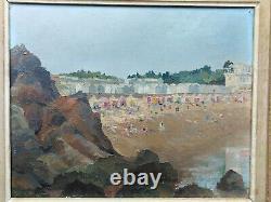 Tableau ancien plage animée Bretagne 1929 marine océan méditerranée