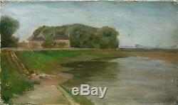 Tableau ancien pochade post impressionniste Bord de rivière Nièvre Nevers