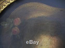 Tableau ancien époque 18 siécle portrait marquise huile sur toile