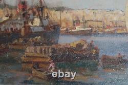 Tableau ancien port marine Alger orientaliste bateau vapeurs Jobert signé