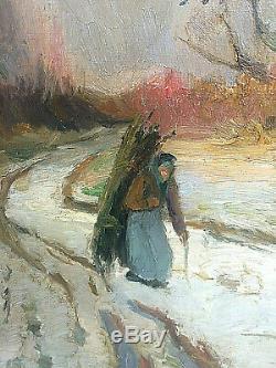 Tableau ancien porteuse de fagots et neige, pictures snow lanscapes, XIX ème