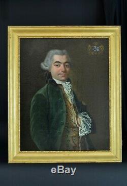 Tableau ancien portrait Homme de Qualité Louis XVI Baron Dordogne Blason 18e