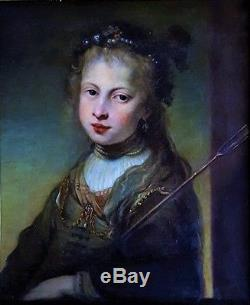 Tableau ancien portrait ancien jeune fille