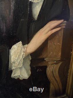 Tableau ancien portrait d' Elégante 19 eme monogrammé D. A