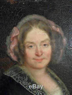 Tableau ancien portrait d' ancetre
