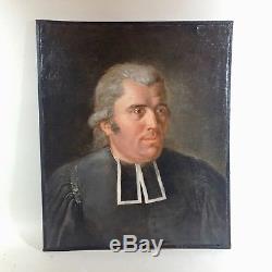 Tableau ancien, portrait d'un ecclésiastique, école française vers 1830