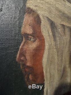 Tableau ancien portrait d'un homme orientaliste signé