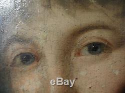 Tableau ancien portrait d' une jeune femme 18 eme