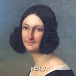Tableau ancien portrait d'une jeune femme de qualité
