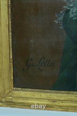 Tableau ancien portrait d'une jeune femme diadème Empire signé LETTU Gers Auch