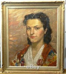 Tableau ancien portrait d'une jeune femme signé A. ALLARD huile sur toile