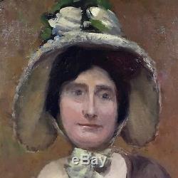 Tableau ancien, portrait d'une jeune femme vers 1900